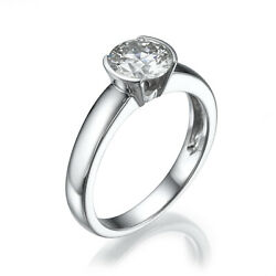 DIAMOND RING ROUND BRILLIANT 2 CARATS SI2 14 KT WHITE GOLD NEW SIZE 6.5 8 9
