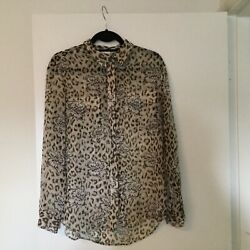 Equipment Leopard Silk L Long Sleeve Blouse