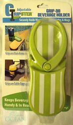 GRIPSTER BEVERAGE HOLDS DRINKS CUPS CANS BOTTLES MUGS GRIP ON TABLE CHAIR DESK  $9.99
