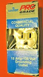 5 LEVITON COMMERCIAL DUTY 2P 3W 15A 125V Grd 5015 ISP IVORY high abuse areas