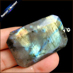 High Quality Natural Blue Flash Labradorite Gemstone Beads Pendant Necklace Q134