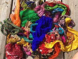 LOT ART SILK Antique Vintage Sari REMNANT Fabrics 8 Oz. MIXED COLORS USA seller $14.00