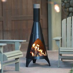 Outdoor Chiminea Durable Cast Iron Wood Burning Heater Patio Fire Pit with cover