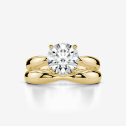 DIAMOND RING BAND SET WEDDING 18 KARAT YELLOW GOLD WOMEN 1.59 CT SOLITAIRE
