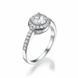 HALO DIAMOND RING 18 KT WHITE GOLD COLORLESS WOMEN MICRO PAVE 2 CARATS NEW