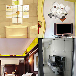 6pcs Squre Mirror Tile Wall Stickers Mosaic Room Makeup Home Decor 3D Adhesive B