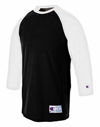 Champion T-Shirt Tee Baseball Raglan Long Sleeve Tag Free Ribbed 100% Cotton Men