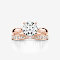 BAND DIAMOND RING SOLITAIRE ACCENTED 2.22 CARAT 14K ROSE GOLD RED COLORLESS