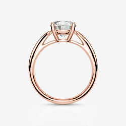 DIAMOND RING ROUND BRILLIANT LADY CERTIFIED VS D 18K ROSE GOLD RED 1.1 CT