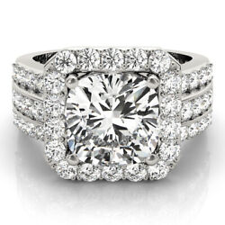 4.30 CT CUSHION MOISSANITE FOREVER ONE HALO PAVE BAND ENGAGEMENT WEDDING RING