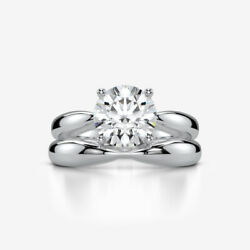 SOLITAIRE DIAMOND RING BAND SET 14K WHITE GOLD AUTHENTIC 1 CARAT ROUND VVS1