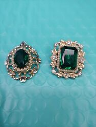Lot of 2 vintage art deco green rhinestinepearl pieces-gold tone-pendant-brooch