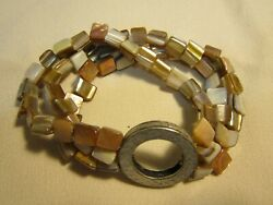 Stretch Mother of Pearl Chip Bracelet with Multi-Strands Silver Tone