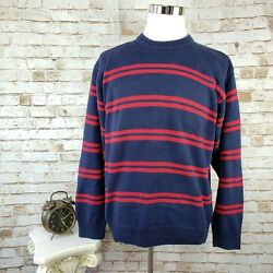 Vintage Tommy Hilfiger Mens Sz L Navy Blue and Red Striped Crew Neck Sweater VGC