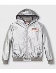 Hunter for Target silver hooded jacket mens size L windbreaker rain coat $44.99