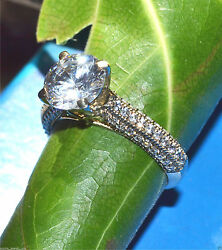 3.63 ct Round Brilliant Solitaire Diamond Engagement Ring Solid 14k White Gold