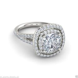 2.10 ct Solitaire Anniversary Engagement Ring Cushion Cut Solid 14k White Gold