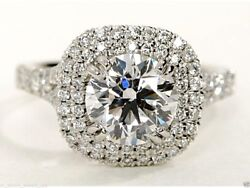 2.09 cts Round Brilliant Solitaire Diamond Engagement Ring Solid 14k White Gold