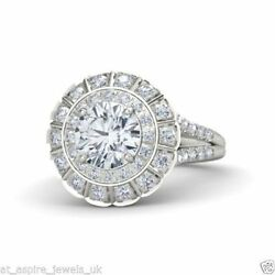 1.57 Ct Brilliant Cut Solitaire Diamond Engagement Ring Solid 14k White Gold