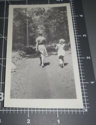 BACK of HEAD TO CAMERA Mystery Girls Walking Down Road BUTLER NJ Vintage PHOTO