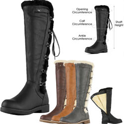 DREAM PAIRS Womens Knee High Faux Fur Lined Winter Snow Lace Up Zip Combat Boots $32.29