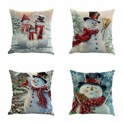 XIECCX Throw Pillow Cover 18 x 18 Inches Set of 4 Christmas Series Cushion Cover