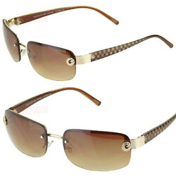 Womens Small Rectangular Rimless Designer Fashion Sunglasses Shades Wrap Brown