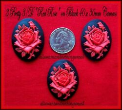 3 Unset Red color Rose on BLACK 40mm x 30mm Costume Jewelry CAMEOS