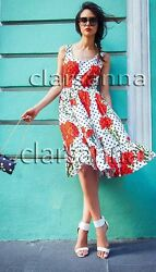 Dolce & Gabbana AUTH Carnation Floral Polka Dot Poplin Tiered Flared Dress 40