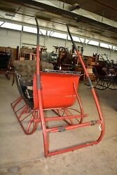 Antique 2 Passenger Red Portland Cutter Sleigh with Shafts Primitive Horse Sled