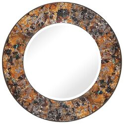 Handcrafted Glass Mosaic Decorative 24quot; Round Wall Mirror Autumn Colors $79.00