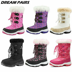 DREAM PAIRS Kids Boys Girls Snow Boots Mid Calf Waterproof Zip Winter Ski Boots $23.39