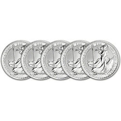 2020 Great Britain Silver Britannia £2 - 1 oz - BU - Five 5 Coins $173.44