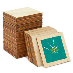 60 Pack Unfinished Wood Pieces Wooden Squares Cutout Tiles for DIY 3 x 3 inch $12.99