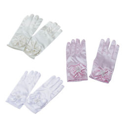 Girl Stretch Spandex Princess Dress Up Gloves Wedding Bow Party Pearl Gloves $7.51