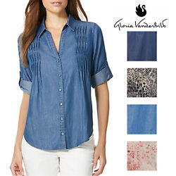 Gloria Vanderbilt Womens Giselle Button Down Blouse $12.99