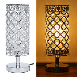 Tomshine Crystal Silver Beside Table Lamp Desk Lights Decor Reading Lamps S1I2