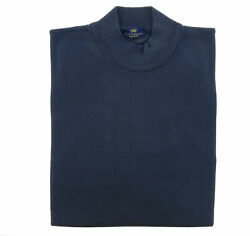 Cotton-Modal Blend Mock Neck Big Mens Navy Blue Sweater by Real Cashmere