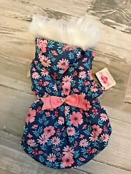 SMOOCHIE POOCH PINK FLORAL FAUX FUR TRIMMED HOODIE Jacket Puppy Dog small $24.50