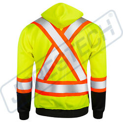 Men#x27;s High Visibility Safety Sweater Two Tone Lime Yellow with X on back $35.88