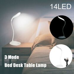 USB Rechargeable Reading Light LED Touch Sensor 3 Mode Bed Desk Table Lamp $5.99
