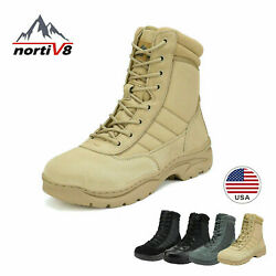 NORTIV 8 Men#x27;s Zip Military Tactical Work Boots Leather Motorcycle Combat Boots $42.49