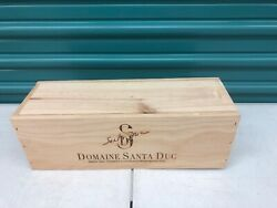 Wine Box Case Wooden Crate Holds 1750ml Domaine Santa Duc Slide Lid