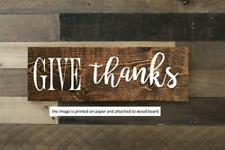 Give Thanks Wood Sign Farmhouse Rustic Decor Shelf Sitter 8x3quot; $15.99