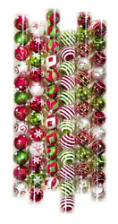 12 Decorated Red Green White Shatterproof Ball Ornament 2.3in $16.99