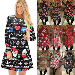 USA Women Xmas Print Swing Dress Ladies Christmas Long Sleeve Flared Party Dress
