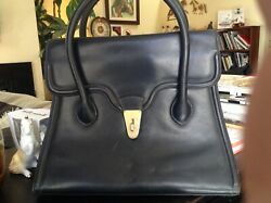 Gucci rare vintage style large leather navy handbag! A fashionista's dream