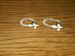Women's Pierced Hoop Earrings White Metal Spring with Mouse Heads 1 316