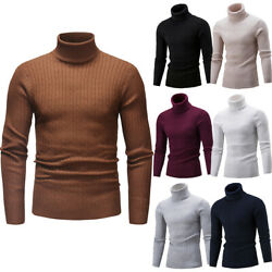 US Luxury Mens Turtleneck Sweater Pullover Tops Long Sleeve Slim Knitted Sweater
