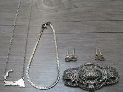 Sterling Silver Jewelry Lot Marcasite Pin Brooch Sparkle Stud Earrings Necklace